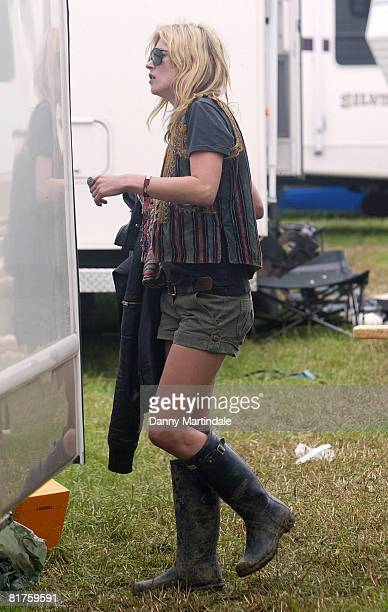Kate Moss is seen during day two of the 2008 Glastonbury Festival on June 27 2008 in Glastonbury Somerset England