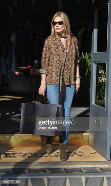 Kate Moss is seen leaving the Rockins emporium on Golborne Road West London on February 17 2018 in London England