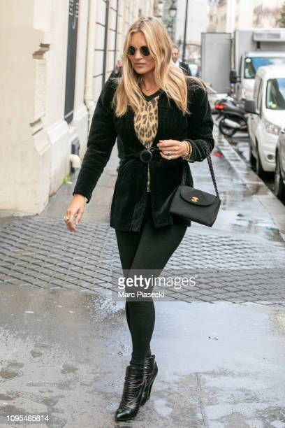 Kate Moss is seen on January 17 2019 in Paris France