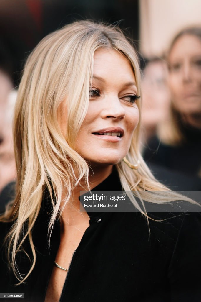 Kate Moss is seen, outside Topshop, during London Fashion Week September 2017 on September 17, 2017 in London, England.