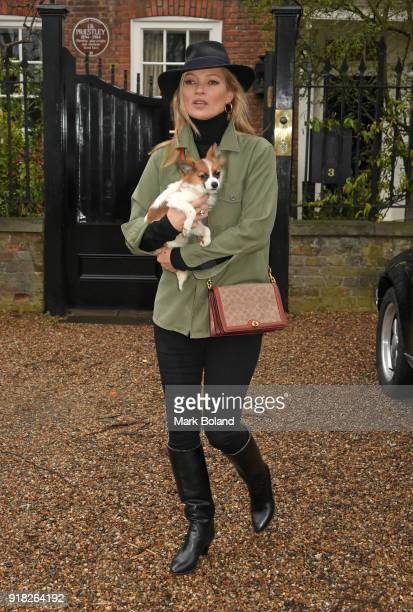 Kate Moss is seen walking in North London on February 14, 2018 in London, England.