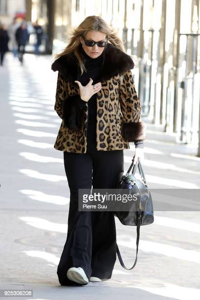Kate Moss is seen walking in the Palais Royal on February 28 2018 in Paris France