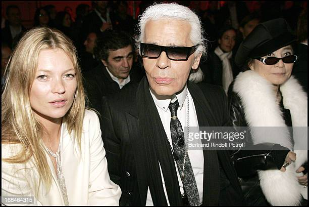 Kate Moss Karl Lagerfeld and Yoko Ono at Dior Homme Men's Collection Fall/Winter 2005/2006