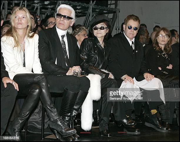 Kate Moss Karl Lagerfeld Yoko Ono and Isabelle Huppert at Dior Homme Men's Collection Fall/Winter 2005/2006
