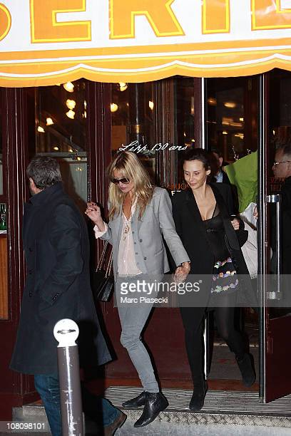 Kate Moss leaves the Brasserie 'LIPP' in Saint Germain des Pres on January 16 2011 in Paris France