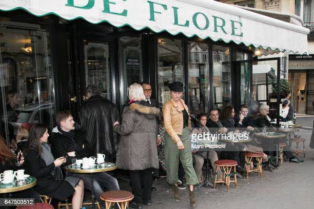 Kate Moss leaves the 'Cafe de Flore' restaurant on March 3 2017 in Paris France