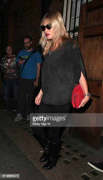 Kate Moss leaving Apollo Theatre after watching Sienna Miller's performance in 'Cat on a Hot Tin Roof' July 20 2017 in London England