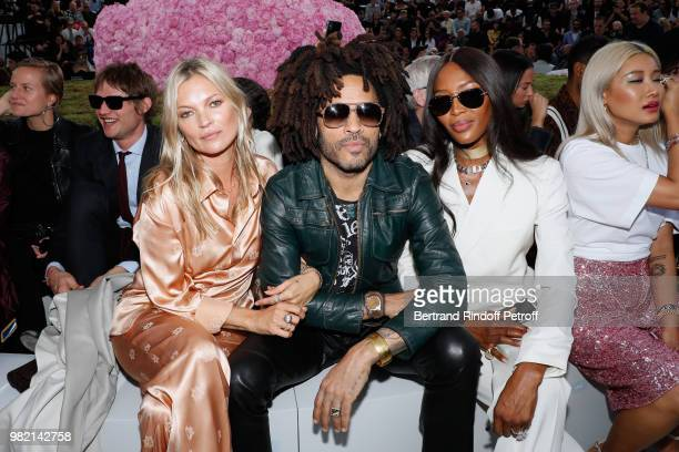 Kate Moss, Lenny Kravitz and Naomi Campbell attend the Dior Homme Menswear Spring/Summer 2019 show as part of Paris Fashion Week on June 23, 2018 in...