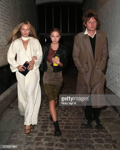 Kate Moss Lila Moss and Nikolai von Bismarck seen celebrating designer Kim Jones birthday party at Laylow on September 11 2020 in London England