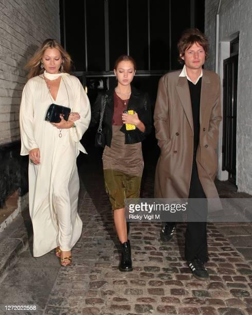 Kate Moss, Lila Moss and Nikolai von Bismarck seen celebrating designer Kim Jones birthday party at Laylow on September 11, 2020 in London, England.