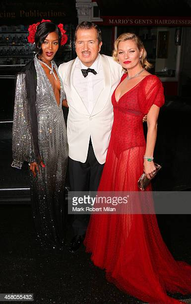 Kate Moss Mario Testino and Naomi Campbell attending Mario Testinos Birthday party at the Chiltern Firehouse on October 29 2014 in London England