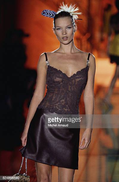 Kate Moss Modeling Versace Outfit