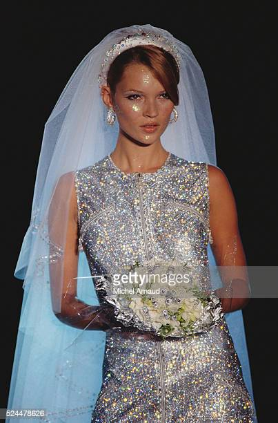 Kate Moss Modeling Versace Wedding Dress