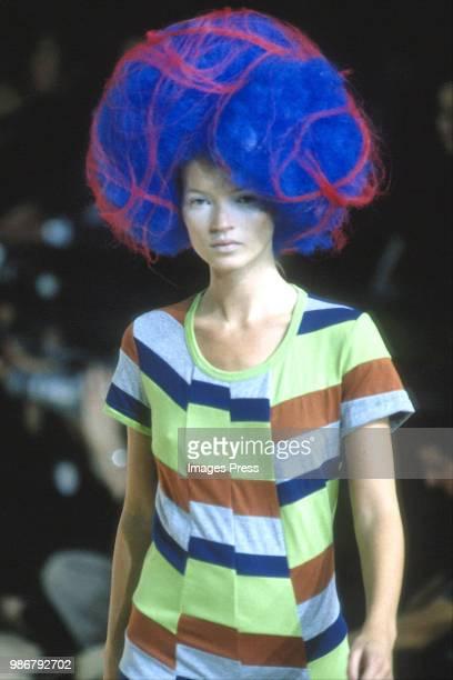 Kate Moss models Comme de Garcons at Paris Fashion Week circa 1995 in Paris.
