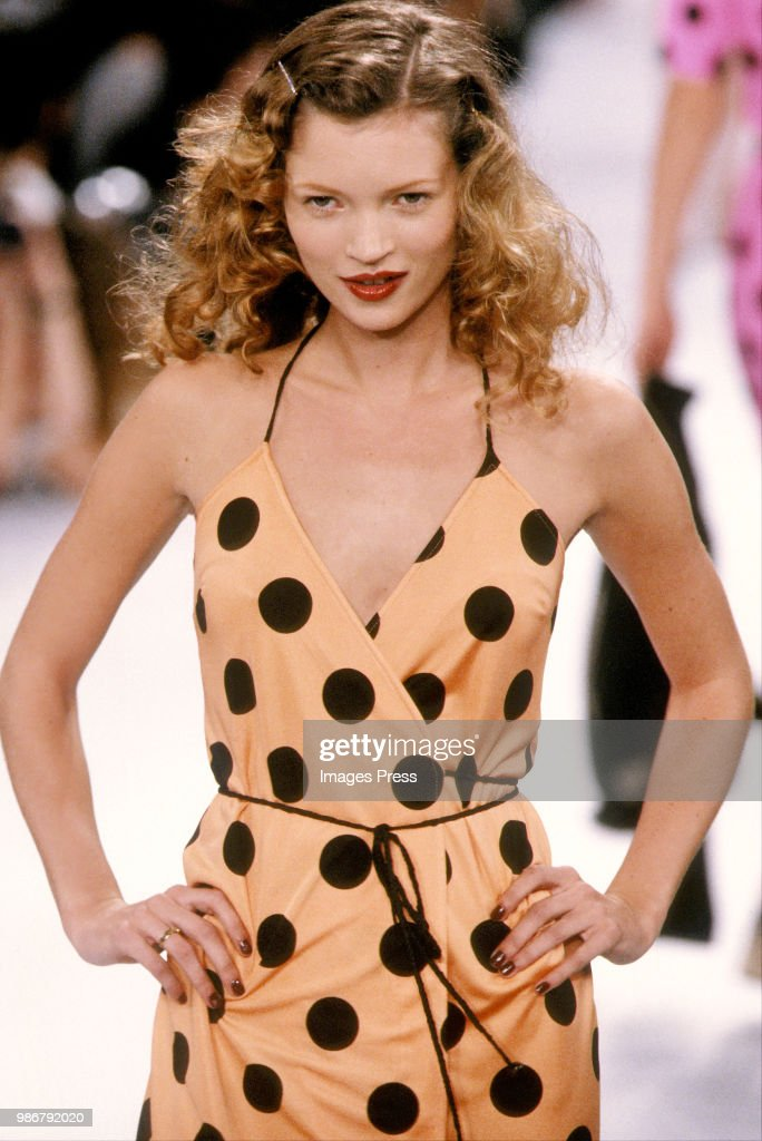 Kate Moss models Todd Oldham at New York Fashion Week circa 1996 in New York.
