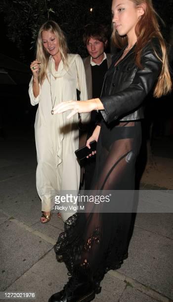 Kate Moss, Nikolai von Bismarck and Lila Moss seen celebrating designer Kim Jones birthday party at Laylow on September 11, 2020 in London, England.