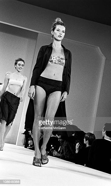Kate Moss on the runway at Miu Miu fashion show on November 2 1995 in New York City New York