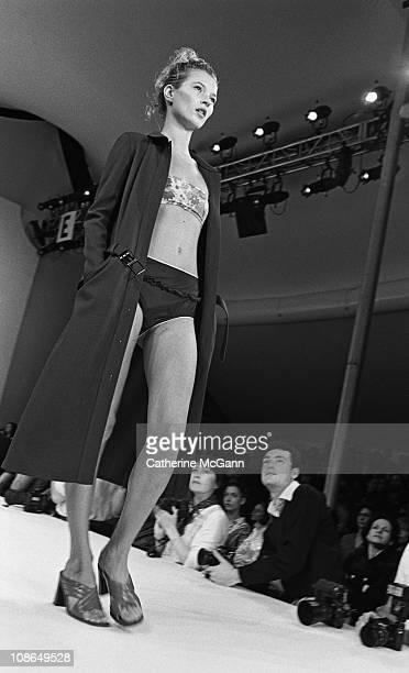 Kate Moss on the runway at Miu Miu fashion show on November 2 1995 in New York City New York