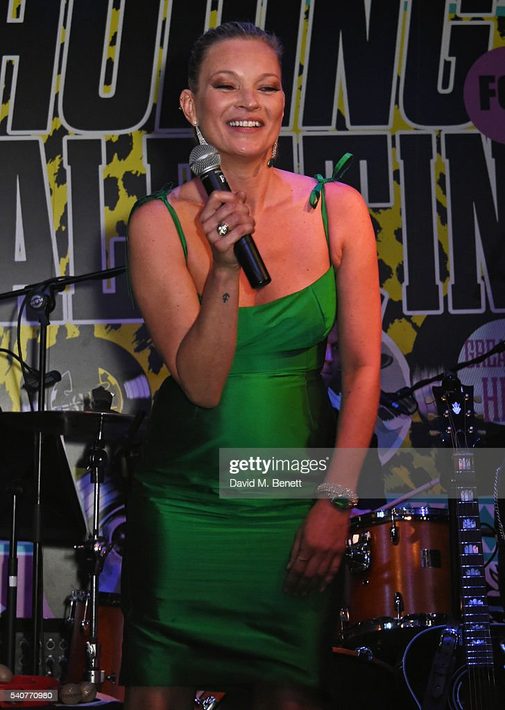 Kate Moss performs 'Stand By Your Man' at 'Hoping's Greatest Hits', the 10th anniversary of The Hoping Foundation's fundraising event for Palestinian refugee children hosted by Bella Freud and Karma Nabulsi, at Ronnie Scott's on June 16, 2016 in London, England.