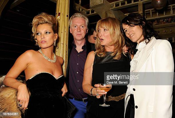 Kate Moss, Philip Treacy, Kate's mother Linda Moss and Bella Freud attend Fran Cutler's surprise birthday party supported by ABSOLUT Elyx at The Box...