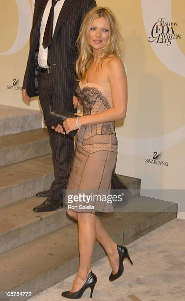 Kate Moss recipient Award for Fashion Influence during 2005 CFDA Fashion Awards Outside Arrivals at New York Public Library in New York City New York...