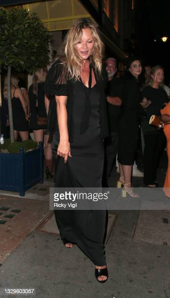 """Kate Moss seen attending Fat Tony's autobiography """"I Don't Take Requests"""" pre-launch party at Isabel Mayfair on July 19, 2021 in London, England."""