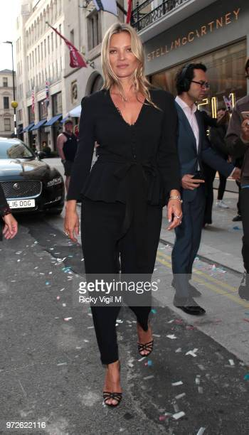 Kate Moss seen attending Stella McCartney flagship store opening party in Mayfair on June 12 2018 in London England