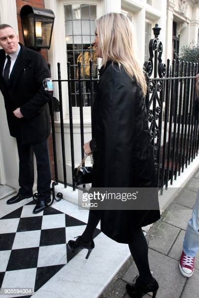Kate Moss seen celebrating her 44th birthday by heading to a restaurant in Mayfair on January 16 2018 in London England