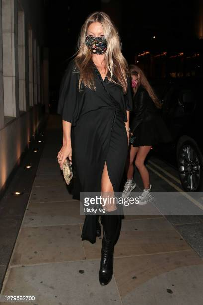 Kate Moss seen celebrating her daughter's Lila Grace Moss Hack's 18th Birthday at Nobu Park Lane restaurant. Lila's father and Kate's ex Jefferson...