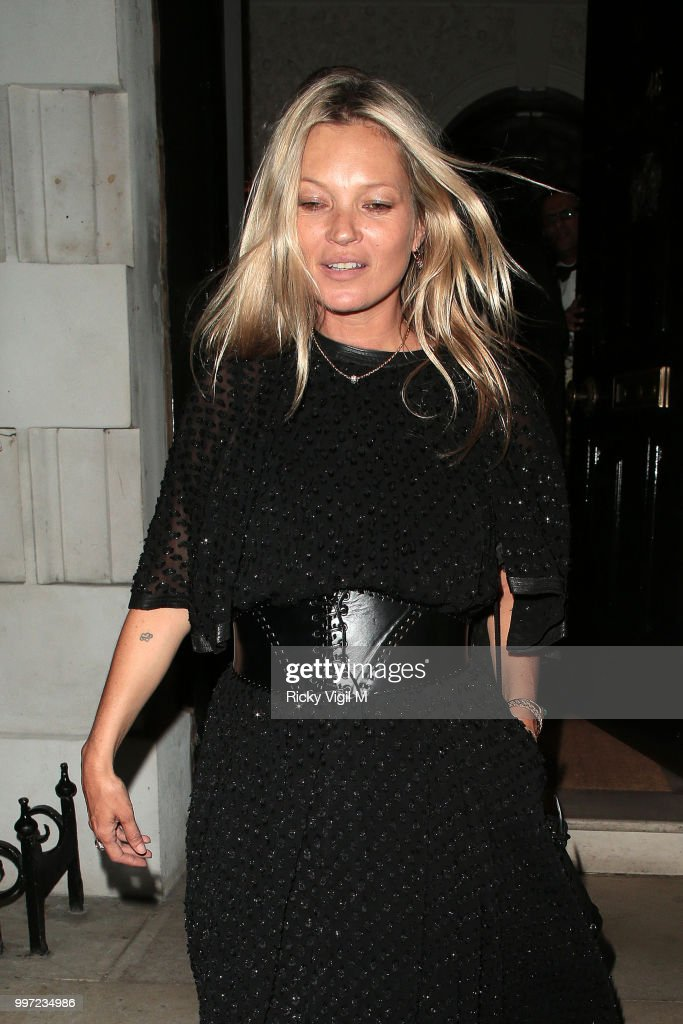 Kate Moss seen leaving Annabel's club on July 12, 2018 in London, England.
