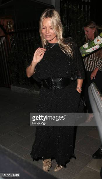 Kate Moss seen leaving Annabel's club on July 12 2018 in London England