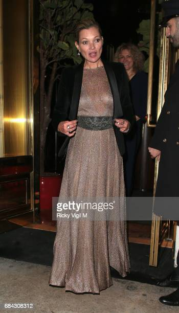 Kate Moss seen leaving Ara Vartanian x Kate Moss launch after party held at Sumosan restaurant on May 17 2017 in London England