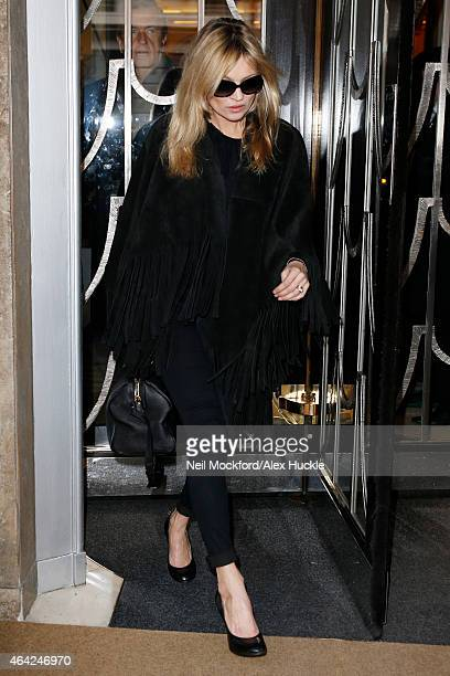 Kate Moss seen leaving Claridges during London Fashion Week on February 23 2015 in London England