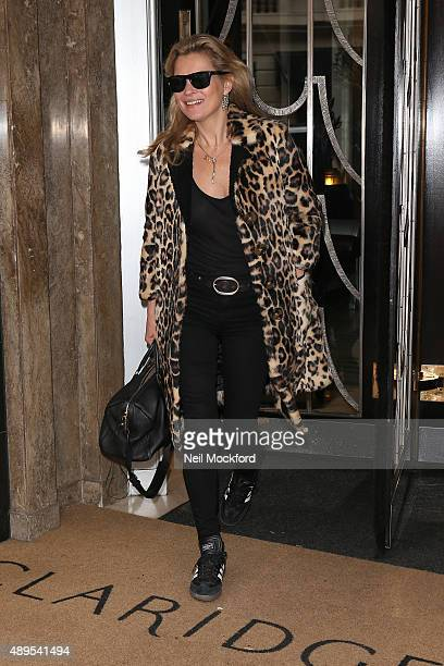 Kate Moss seen leaving Claridges Hotel on September 22 2015 in London England