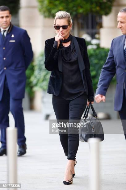 Kate Moss seen leaving her hotel in Paris France on September 27 2017