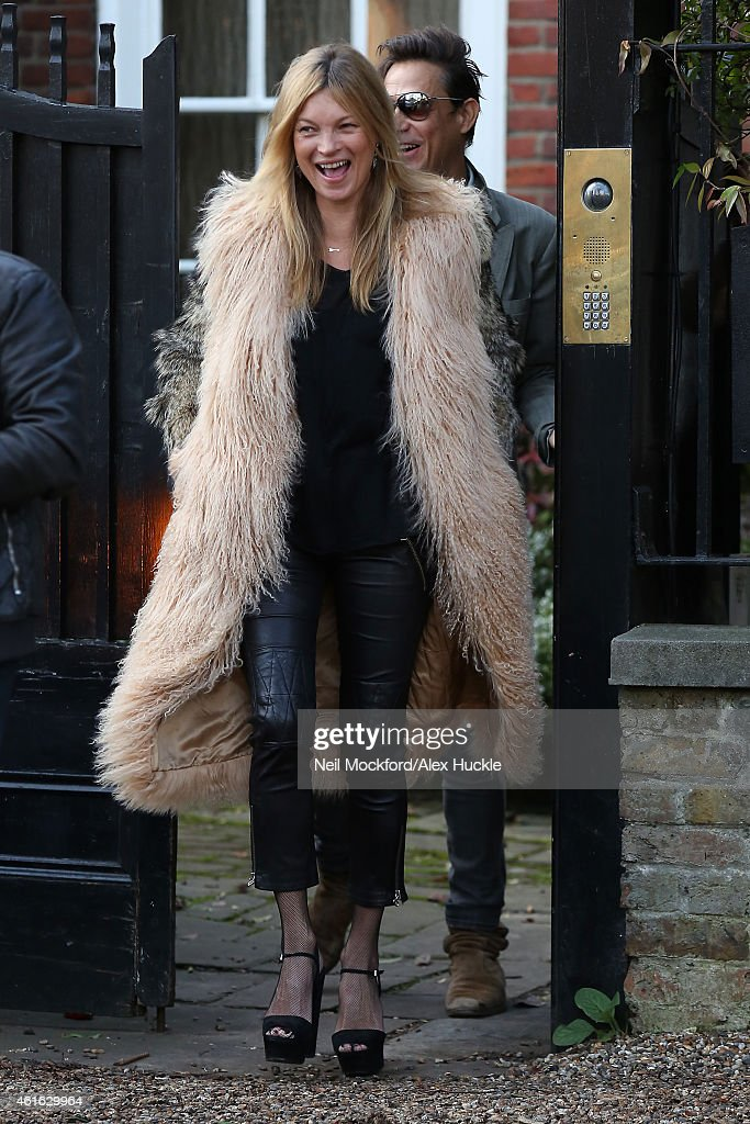 Kate Moss seen on her 41st birthday, leaving her home on January 16, 2015 in London, England.