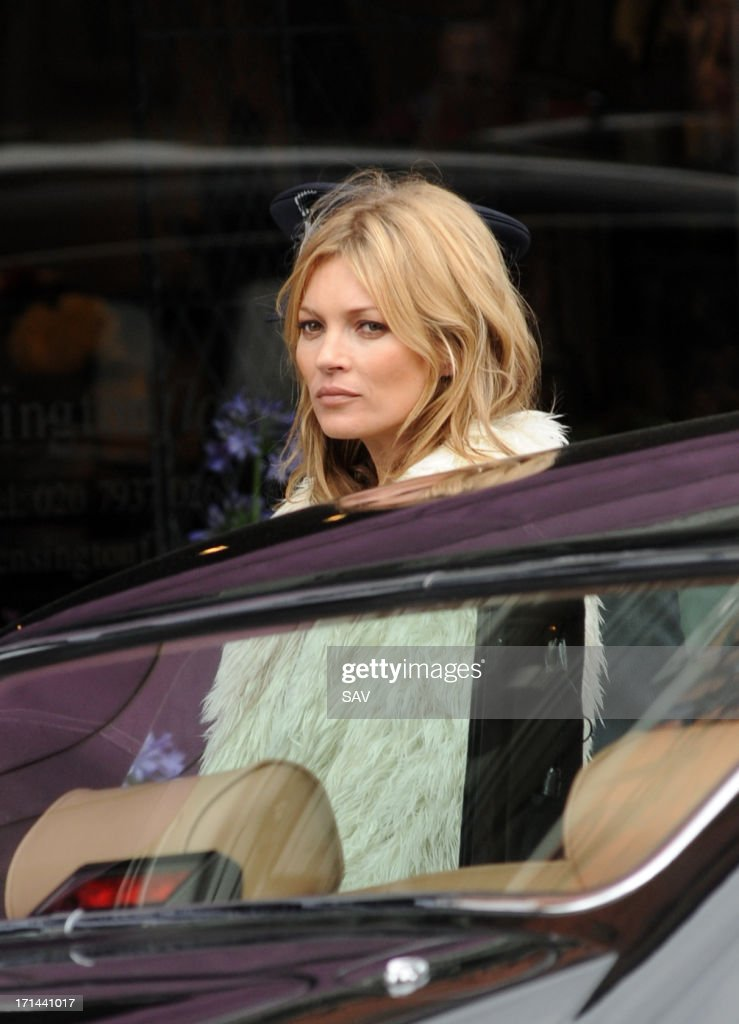 Kate Moss sighted during a shoot for shoe designer Stuart Weitzman on June 24, 2013 in London, England.