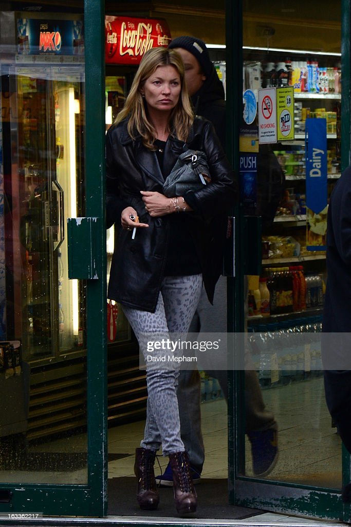 Kate Moss sighted in Notting Hill enquiring about a piece of artwork featuring herself on March 8, 2013 in London, England.