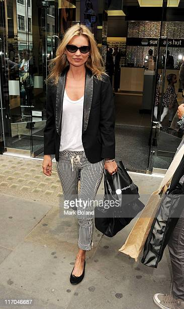 Kate Moss sighted leaving Sunglass Hut Covent Garden on June 20 2011 in London England