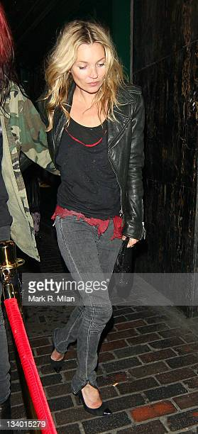 Kate Moss sighted leaving the Groucho club and heading to the Box night club,on November 23, 2011 in London, England.