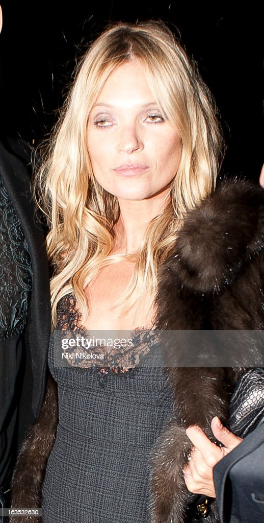 Kate Moss sighting on March 11, 2013 in London, England.