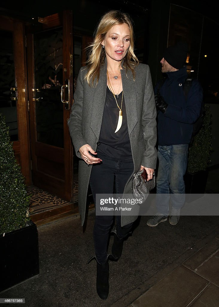 Kate Moss spotted leaving Groucho in Soho on February 4, 2014 in London, England.