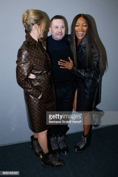 Kate Moss stylist Kim Jones and Naomi Campbell pose after the Louis Vuitton Menswear Fall/Winter 20182019 show as part of Paris Fashion Week on...