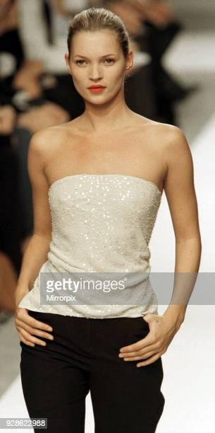 Kate Moss wearing Narcisco Rodriguez at Milan Fashion Week, 6th October 1997.