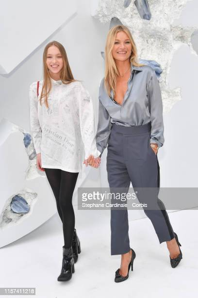 Kate Moss with her daughter Lila Grace Moss Hack attend the Dior Homme Menswear Spring Summer 2020 show as part of Paris Fashion Week on June 21 2019...