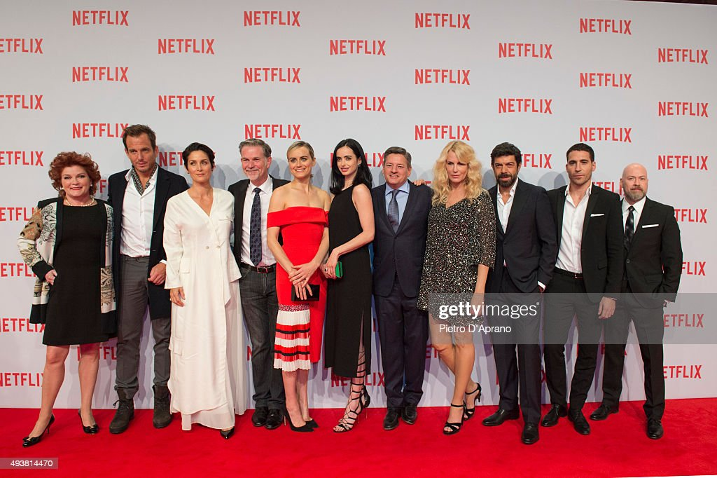 Kate Mulgrew, Will Arnett, Carrie-Anne Mosse, Reed Hastings, Taylor Schilling, Krysten Ritten, Ted Sarandos, Daryl Hannah, Pierfrancesco Favino, Miguel Angel Silvestre, Steven Deknight attends a red carpet for the Netflix launch at Palazzo Del Ghiaccio on October 22, 2015 in Milan, Italy.