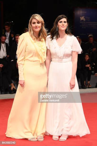 Kate Mulleavy and Laura Mulleavy from 'Woodshock' movie walk the red carpet ahead of the 'Three Billboards Outside Ebbing Missouri' screening during...
