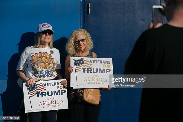 Kate Nakfoor right of Watsonville Ca and Janie Duff of Aptos pose for a photo taken by Ryan Duff prior to a campaign rally for Republican...