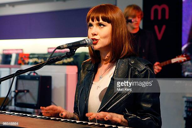 Kate Nash performs at a meet and greet signing session with fans at HMV Oxford Street on April 19 2010 in London England