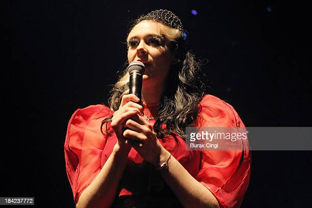 Kate Nash performs on stage at Shepherds Bush Empire on October 12 2013 in London England